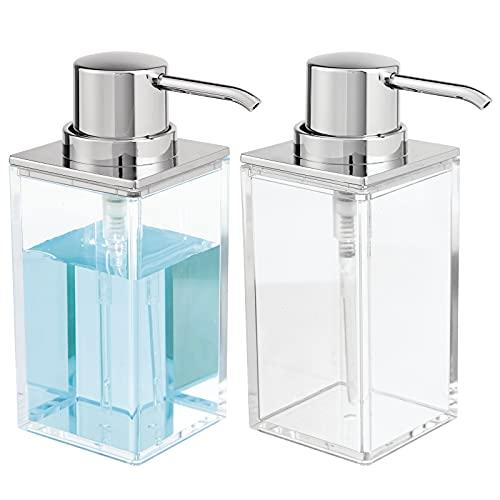 mDesign Juego de 2 dosificadores de jabón recargables – Útil dispensador de jabón líquido de aprox. 300 ml – Elegante dispensador de jabón de manos de plástico para el baño – transparente/plateado