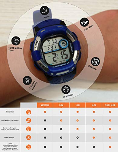 Kids Watch Boys Digital 7-Color Flashing Light Water Resistant 100FT Alarm for Boys Age 7-10