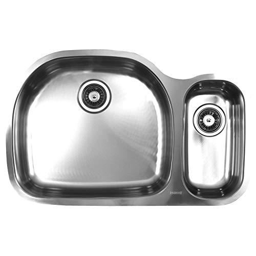 Ukinox D537.70.30.10L Modern Undermount Double Bowl Stainless Steel Kitchen Sink