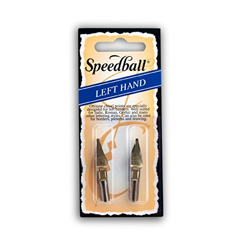 Speedball Lettering & Drawing Pen Nibs, Left-Handed Design, Flat Stainless Steel Tip, LC3 & LC4, Pack of 2 (031054)