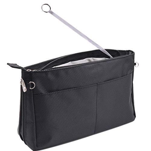 Timewall Handbag Tote Purse Organizer Insert Nylon Expandable Shaper Liner 7 Compartments Zippers Elastic Strap Stylish Chain, X Large, Black