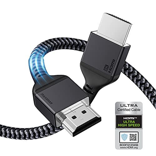 Maxonar 8K HDMI 2.1-Kabel 1m,(Zertifiziert) Ultra HD 48Gbit/s Hochgeschwindigkeit 8K60 4K120 eARC HDR10 4: 4: 4 HDCP 2.2 & 2.3 Dolby Kompatibel mit/PS5,Xbox-Serie X/Roku/Fire/Sony/LG-Fernseher