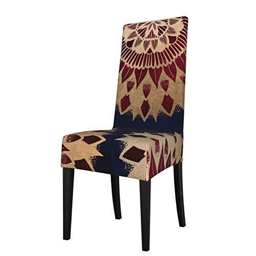 Fundas elásticas para silla para comedor, bohemio, dorado, azul marino, burdeos, mandala, lavable, para decoración de Navidad, ceremonias, banquetes, bodas, fiestas, comedores.