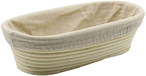 Stormshopping 11.8 inch Oval Long Banneton Brotform Bread Dough Proofing Rising Rattan Basket & Liner