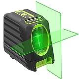 Huepar 2ライン グリーン レーザー墨出し器 クロスラインレーザー 緑色 レーザー 自動補正 傾斜モード 高輝度 ライン出射角130°&150 ミニ型ライン切替可能 受光器対応 マグネットベース付き BOX-1G
