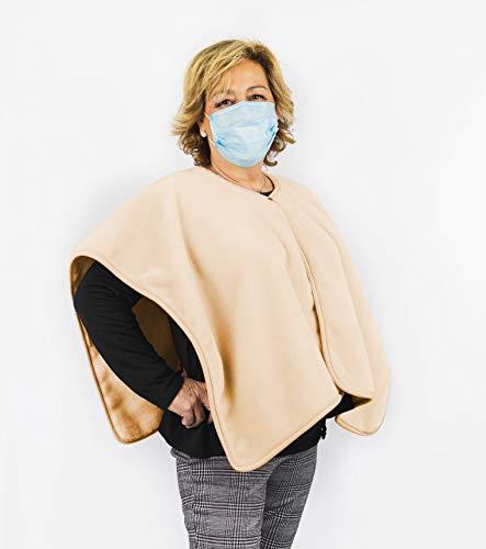 PIELSA | Poncho-Toquilla Anticoronavirus para Adulto | Poncho Calentito Hipoalergénico | Poncho Invierno Suave | Color Nácar| Tamaño 80x110