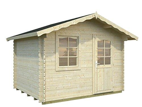 Gartenhaus Fagus F2 inkl. Fußboden, naturbelassen - 28 mm Blockbohlenhaus, Grundfläche: 4,50 m², Satteldach