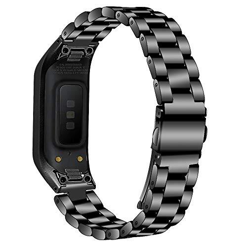 Ruentech Kompatibel mit Samsung Galaxy Fit E SM-R375 Aktivität Tracker Armband Metall Edelstahl Bands Ersatz für Galaxy Fit E Zubehör Mode Armbänder (Schwarz)