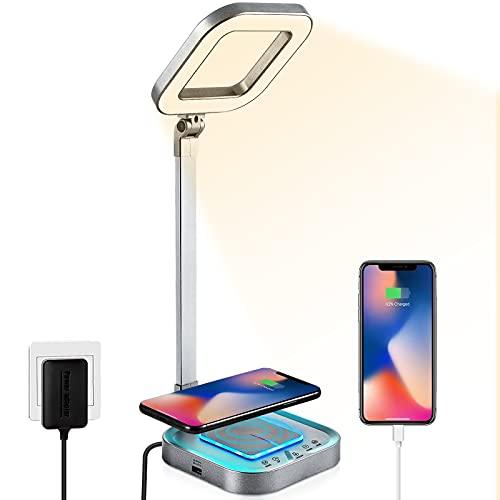 LAOPAO Lámpara Escritorio LED, Carga Inalambrica, Puerto USB, 5 * 5 Modos de Brillo, Control Táctil, Luz de Noche, Plegable de Lámpara de Oficina [Clase de eficiencia energética A+++] (Gris-plata)