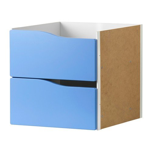 IKEA KALLAX Einsatz mit 2 Schubladen ohne Griff in blau; (33x33cm); passt zu EXPEDIT