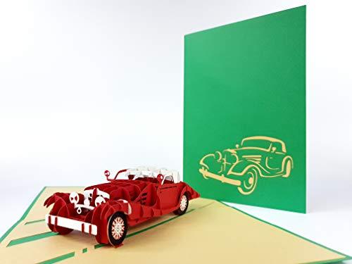 Een mooie oude antieke auto 3D pop-up Card Verjaardagskaart Hobby Passion Cars Truck Verjaardagswensen Verjaardagskaart naamdag Kaart Groeten Kaart Gelukkige Verjaardag 3D pop-up Wenskaart, Kirigami Papier