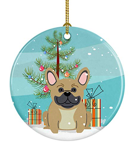 Caroline's Treasures Merry Christmas Tree French Bulldog Cream Ceramic Ornament, Multicolor