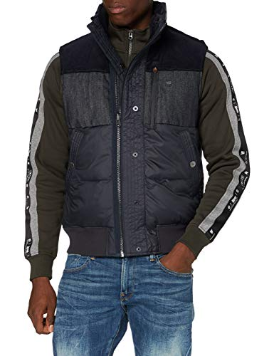 G-STAR RAW Denim Mix Quilted Vest Chaqueta, Mazarine Blue B958-4213, Small para Hombre