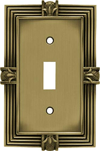 Franklin Brass 64474 Pineapple Single Toggle Switch Wall Plate/Switch Plate/Cover, Tumbled Antique Brass