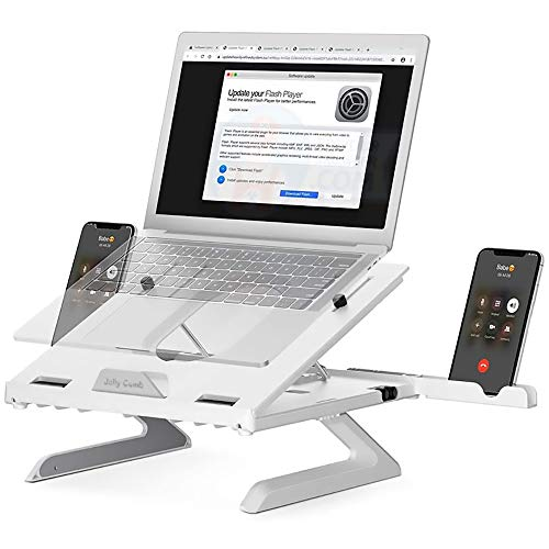Laptop Stand, Multi-Angle Adjustable Laptop Lifting Plate with Foldable Legs And Phone Stand, Ventilated Stand Tray for Macbook, Tablet,White