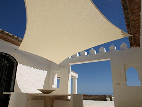 Aquagart Sonnensegel 5,4m x 5,4m Quadratisch Sandfarben Sonnenschutz Windschutz Sonnendach