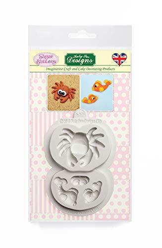 Krab en vis siliconen mal voor taartdecoratie, ambachten, cupcakes, suikerwerk, snoepjes, kaarten, zeep en klei, voedselveilig goedgekeurd, gemaakt in het Verenigd Koninkrijk, suikerknoppen