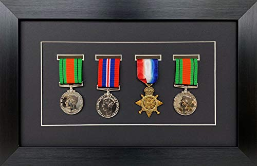 Kwik Picture Framing | Military/War/Sports Medal 3D Box Picture Frame Fits Four Medal - Black Frame with Black Mount