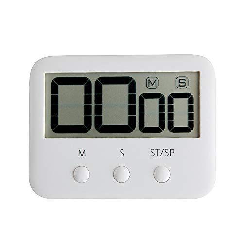 Digital Kitchen Timer Timing Countdown Timers with Large Led Display Magnetic Back White
