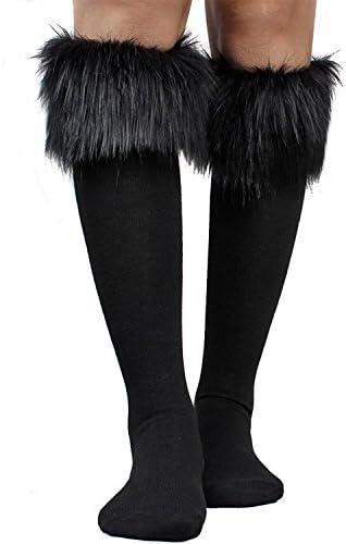Women s Fur Socks Furry Fuzzy Leg Warmers Soft Boot Cuffs Cover High Socks Black product image