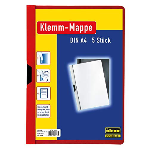 Idena 300573 - Klemmmappe für DIN A4, rot, 5 Stück