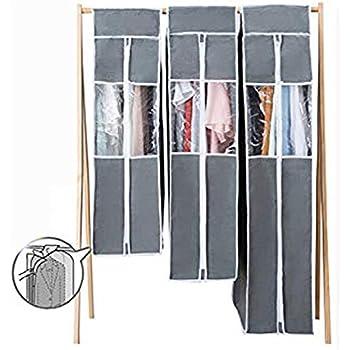 衣装カバー 3枚セット クローゼットまとめて 洋服カバー 活性炭シート内蔵 通気性の良い不織布製 湿気・ホコリ・汚れ防止