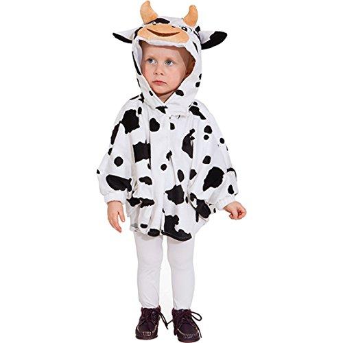 Amakando Kinder Kuhkostüm Poncho Tierkostüm Cape 104 cm 3-5 Jahre Tier Kinderkostüm Kuh Kostüm Karnevalskostüme Tiere Süßes Regencape Faschingskostüm Karneval Kapuzenumhang Bauernhof