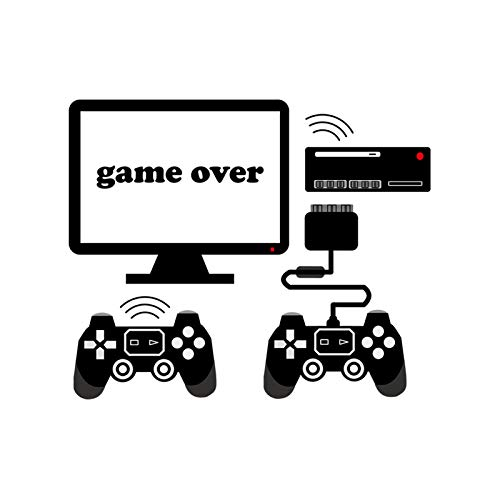 Game Over Wall Sticker Computer Video Game Controller Art Murals Decal Peel and Stick Removable Gaming Wallpaper Home Decor for Boy Kid's Bedroom Living Room Decaoration
