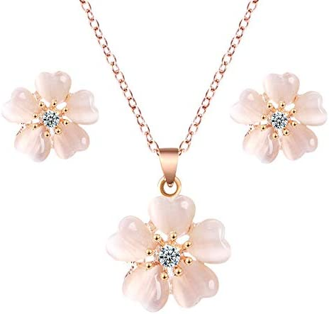 QXZ-WOLFBERRY Crystal gem Inlaid Flowers Pendant Necklace Ear Rolls Jewelry Set Women's Clothing (Color : L001)