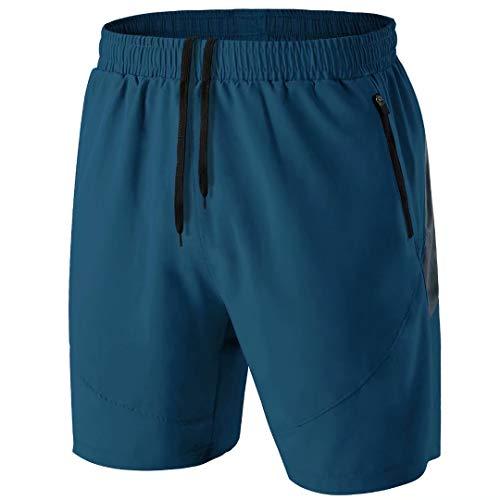 Herren Sport Shorts Kurze Hose Schnell Trocknend Sporthose Leicht mit Reißverschlusstasche(Pfauenblau,EU-2XL/US-XL)