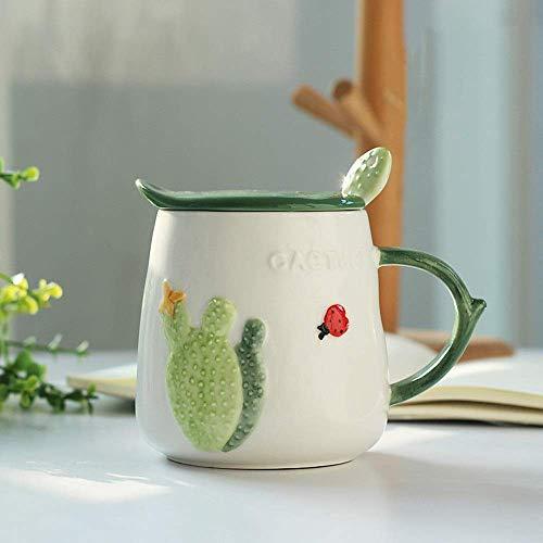 Tasse à café en céramique Tasse mignonne Tasse de petit déjeuner au lait Tasse en céramique créative Cactus avec couvercle Cuillère Tasse à café cadeau d'anniversaire créatif(Couleur: C, taille: 470ml