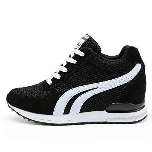AONEGOLD® Baskets Compensées Femmes Chaussure de Sport Gym Fitness Sneakers Basses Compensées 7 cm Jogging Voyage Respirantes(Noir,36 EU)