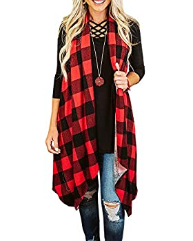 Ivay Womens Plaid Open Front Cardigan Sleeveless Drape Lightweight Vest Coat with Pockets Red