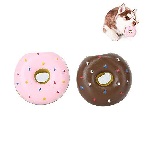 Pssopp 2 Stück Quietschen Latex Hundespielzeug Donut Form Hund Kauen Spielzeug Training Spielzeug Welpe Molar Spielzeug Haustier Interaktives Spielspielzeug für kleine mittelgroße Hunde