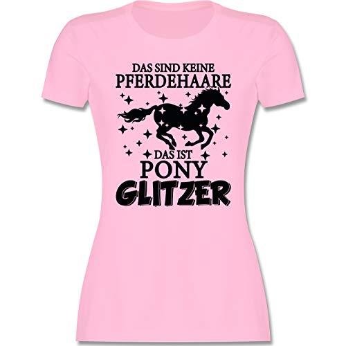 Pferde - Das sind Keine Pferdehaare - Das ist Pony Glitzer - schwarz - M - Rosa - Spruch - L191 - Tailliertes Tshirt für Damen und Frauen T-Shirt