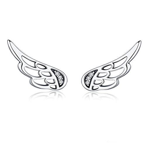 AdronQ Pendientes de Plata de Ley 925 con alas de Hadas y Plumas, Plata para Mujer, joyería de Plata de Moda, Navidad