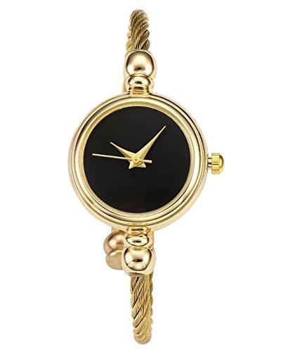 JSDDE Uhren Damen Chic Spangenuhr Armbanduhr Kleideruhr Manschette Metallband Damenuhr Zeitlos Design Zifferblatt Armreif Uhr Analoge Quarzuhr (Gold Band-Schwarz)