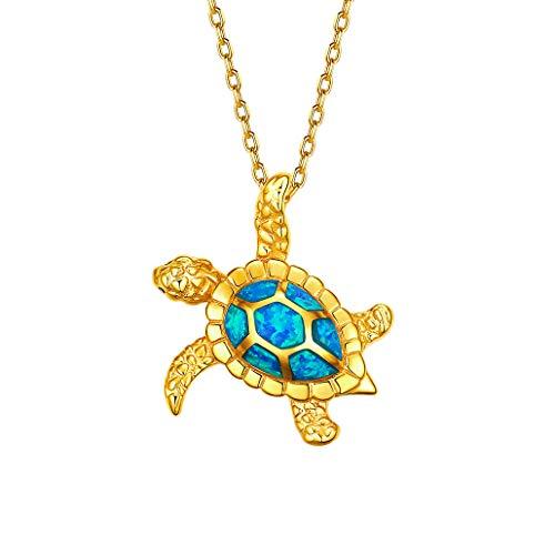Silvora 925 Sterling Silber Blaue Opal Schildkröte Anhänger Halskette, Sterling Silber künstliche Opal Schildkröte Anhänger, zarte Silber Anhänger für Frauen …
