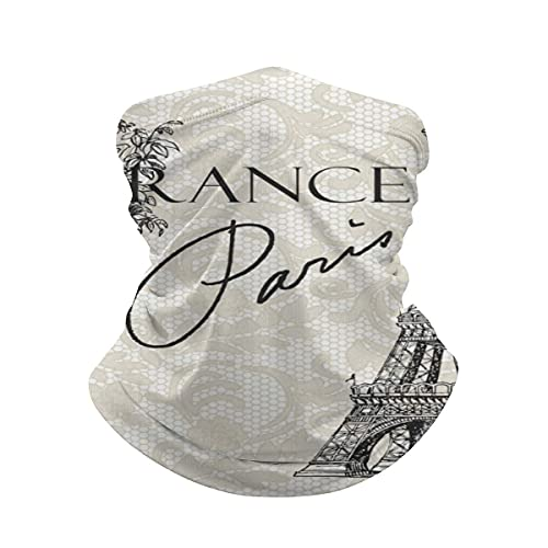 asdew987 La Torre Eiffel Vintage París Francia Eiffel Cuello Polaina Cara Máscara Bandana Calentador de cuello frío a prueba de viento ligero bufanda de seda hielo para hombres y mujeres