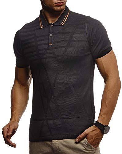 Leif Nelson Herren Sommer T-Shirt Poloshirt Slim Fit aus Feinstrick Cooles Basic Männer Polo-Shirt Crew Neck Jungen Kurzarmshirt Polo Shirt Sweater Kurzarm LN7305 Schwarz XX-Large