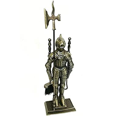 Lizh™ Middle Ages Knight Cast Iron Fireplace Tool Set ,Antique Brass