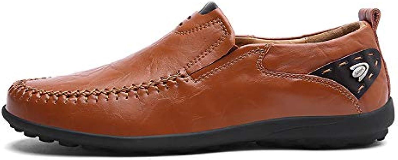 LOVDRAM Men'S Leather shoes Men'S Fashion Simple Set Of Feet Peas shoes Leather shoes