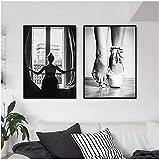 LIANGX Cuadro de pared con diseño de bailarina en blanco y negro con ventana y bailarina nórdica, para salón, hogar, sin marco (2 x 30 x 40 cm)