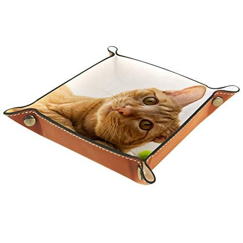 Caja de almacenamiento pequeña, bandeja de valet para hombre,El gato naranja inclina su cabeza,Organizador de cuero para llaves de caja de monedas