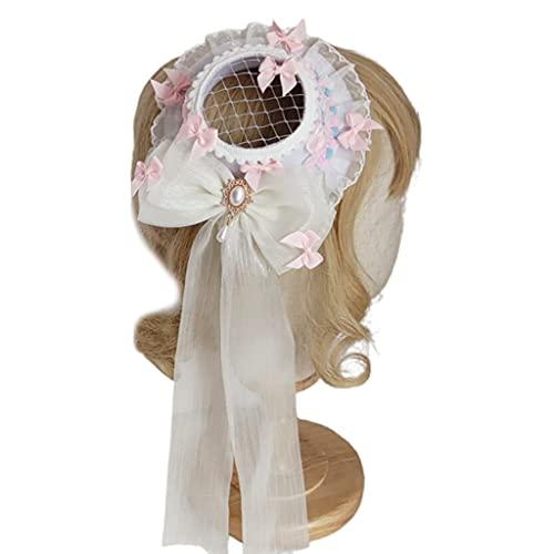 MYBOON Mädchen Cosplay Kopfschmuck Perle Dekor Hut Band Bögen Lolita Spitze Kopfbedeckungen Vintage Royal Style Anime Cosplay Kopfschmuck, Bögen Blumenkopfbedeckungen