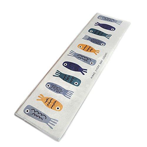Fashion·LIFE Tappeto per Bambini Tappeto da Cucina Ingresso Zerbino Lavabile Antiscivolo-Pesce Design(45X160)