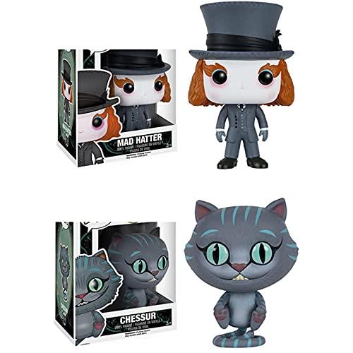 2Pcs Pop Anime Alice In Wonderlands Chessur Figure Vinyl Cat Mad Hatters Action Figure Dolls Toys Movie Pop Action Toys Model Gifts For Children