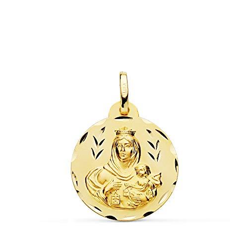 Medalla Escapulario V. Carmen y C. Jesús Oro 18 Kilates Tallado 20mm