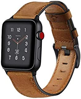Joyeworld Replacement Bands for Apple Watch Series 4/3/2/1 42mm, 44mm, MyHarem Leather Wristband Strap Bracelet (Yellow br...