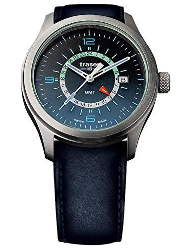 Traser Aurora GMT, Leather Strap, Blue, 42mm, 107035